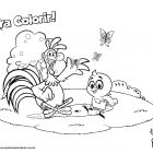 Desenho para colorir - Galo Carijó e Pintinho Amarelinho