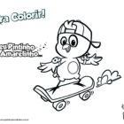 Desenho para colorir - Pintinho Amarelinho de skate!
